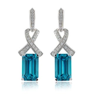 14k White Gold 12 53ct TGW Blue Zircon And Diamond One Of A Kind Earrings