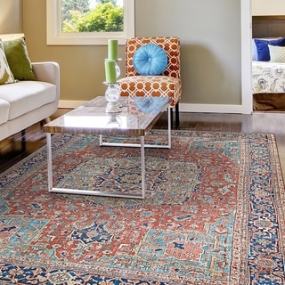 Legion Kirman Orange-Blue Area Rug