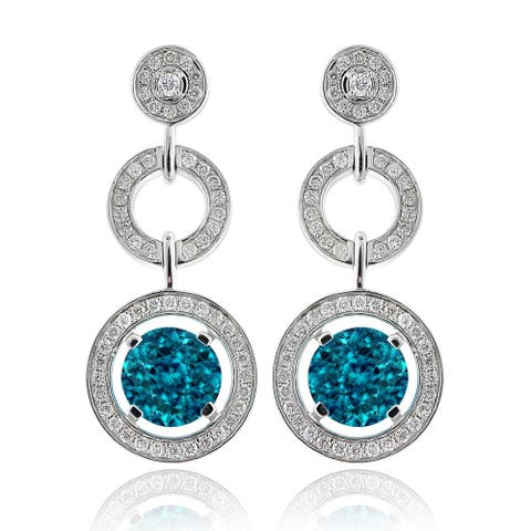 14k White Gold 5.88ct TGW Blue Zircon and Diamond One-of-a-Kind Earrings