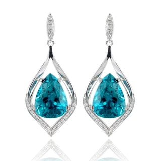 14k White Gold 18 23ct TGW Blue Zircon And Diamond One Of A Kind Earrings
