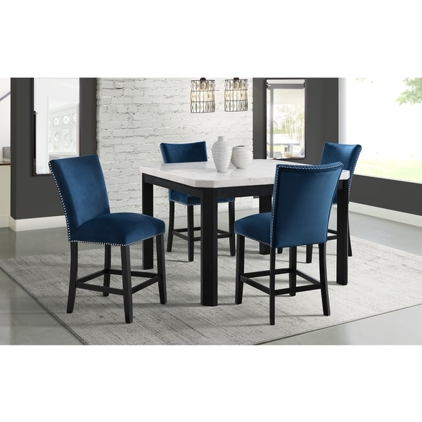 Picket House Furnishings Celine White Marble 5PC Counter Height Dining Set-Table & Four Velvet Chairs
