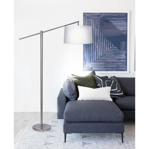 Porch & Den Willet Brushed Nickel 69-inch Floor Lamp with Off-White Linen Drum Shade