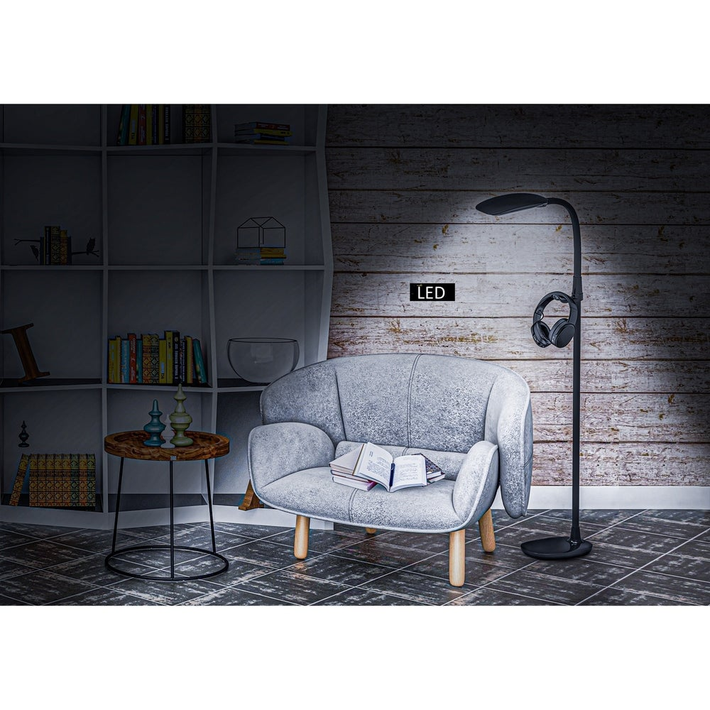 "Artiva PRO-Vision Full Spectrum LED Floor Lamp with Accessory Hangers & Reading Magnifier, 62""H, Black"
