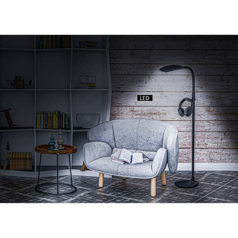 """Artiva PRO-Vision Full Spectrum LED Floor Lamp with Accessory Hangers & Reading Magnifier, 62""""H, Black"""