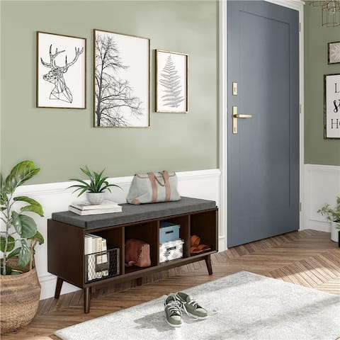 Novogratz Brittany Walnut Entryway Bench