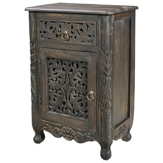 Aria Collection - 1 Drawer 1 Door Carved Nightstand