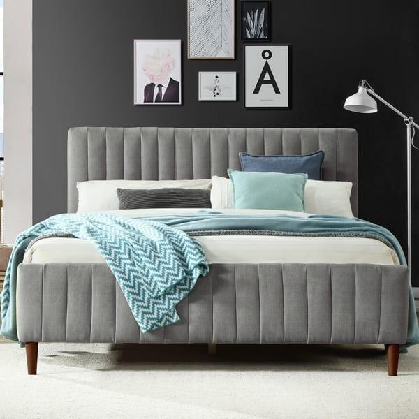 Shop Omax Decor Spencer Upholstered Platform Bed Queen Overstock 29163368