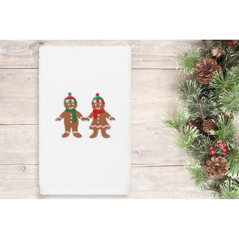 Authentic Hotel and Spa Christmas Gingerbread Embroidered Luxury 100% Turkish Cotton Hand Towel
