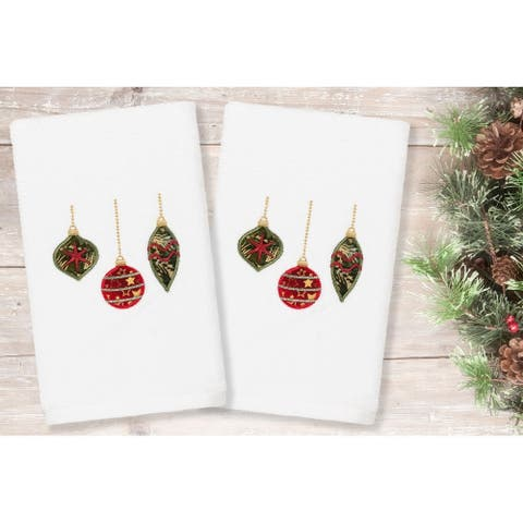 Authentic Hotel and Spa Christmas Ornaments Embroidered Luxury 100% Turkish Cotton Hand Towels (Set of 2)