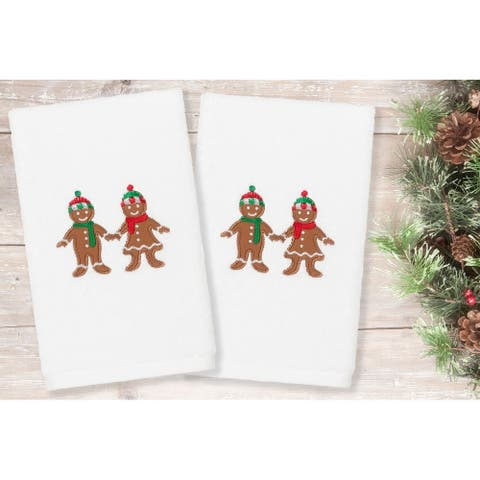 Authentic Hotel and Spa Christmas Gingerbread Embroidered Luxury 100% Turkish Cotton Hand Towels (Set of 2)