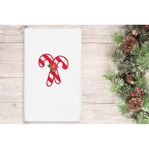 Authentic Hotel and Spa Christmas Candy Canes Embroidered Luxury 100% Turkish Cotton Hand Towel