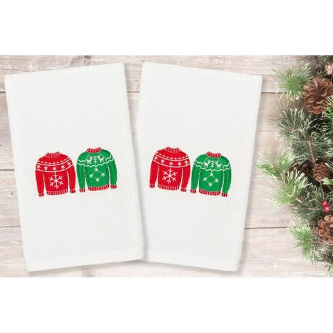 Authentic Hotel and Spa Christmas Sweaters Embroidered Luxury 100% Turkish Cotton Hand Towels (Set of 2)