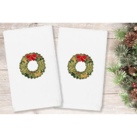 Authentic Hotel and Spa Christmas Wreath Embroidered Luxury 100% Turkish Cotton Hand Towels (Set of 2)