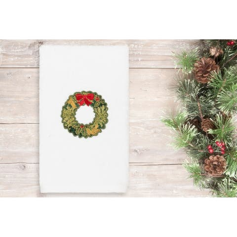 Authentic Hotel and Spa Christmas Wreath Embroidered Luxury 100% Turkish Cotton Hand Towel