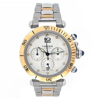 Pre-owned 38mm Cartier 18k Yellow Gold and Stainless Steel Pasha Chronograph Watch - N/A - N/A