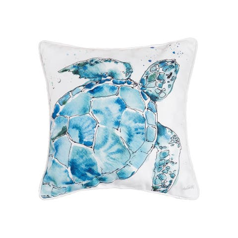 Blue Turtle Coastal Beach Indoor/Outdoor 18 x 18 Accent Decorative Accent Throw Pillow