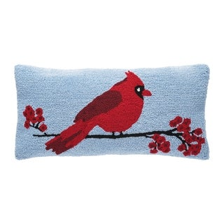 Cardinal Berry Branch Hooked Pillow