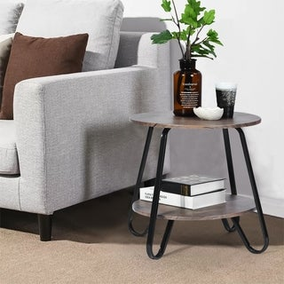 Furniture R Round 2-shelf Coffee Table Dark Brown End Side Table