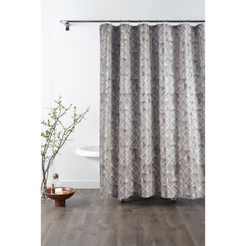 Croscill Sloan Grey and Silver Jacquard Shower Curtain