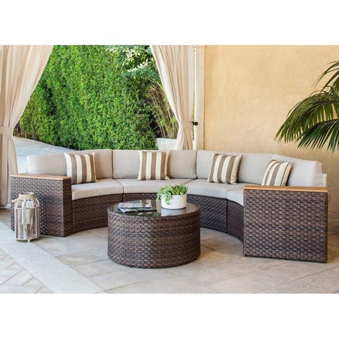 Solaura Outdoor 5-Piece Round Wicker Sectional Sofa Set
