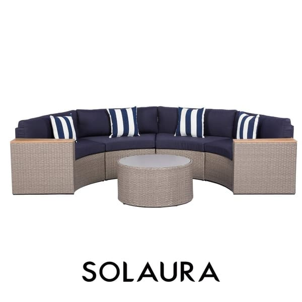 Fantastic Shop Solaura Outdoor 5 Piece Round Wicker Sectional Sofa Set Cjindustries Chair Design For Home Cjindustriesco