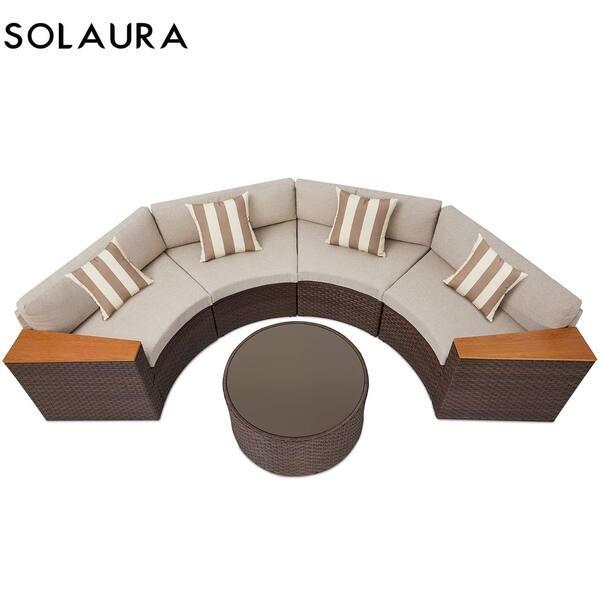 Superb Shop Solaura Outdoor 5 Piece Round Wicker Sectional Sofa Set Unemploymentrelief Wooden Chair Designs For Living Room Unemploymentrelieforg