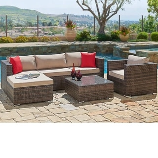 Suncrown Outdoor 6-Piece Brown Wicker Sectional Sofa & Chair Set
