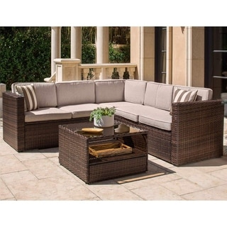 Solaura Outdoor 4-Piece Wicker Sectional Sofa Coffee Table Set