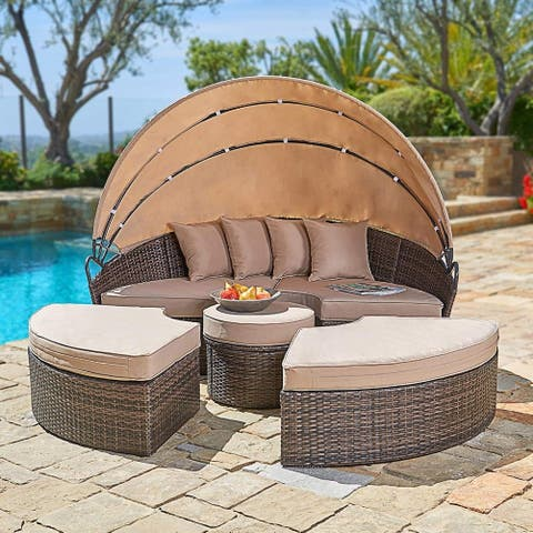 Suncrown Outdoor 5-Piece Wicker Patio Canopy Daybed