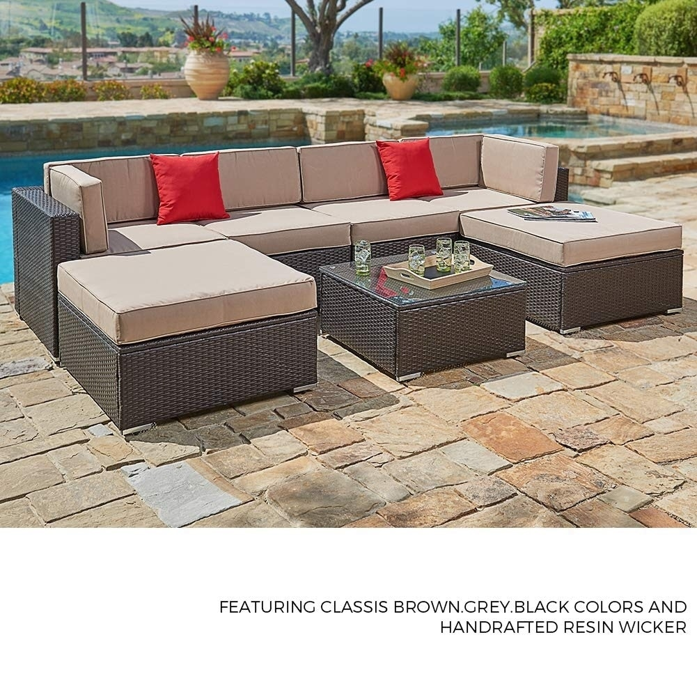 Suncrown Outdoor 7-Piece Brown Wicker Sectional Sofa & Ottoman Set
