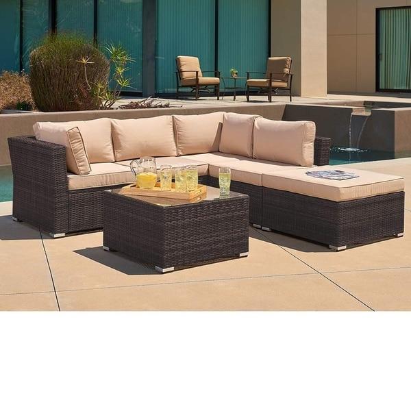 Shop Suncrown Outdoor 4-Piece Brown Wicker Sectional Set ... on Outdoor 4 Piece Sectional id=83809