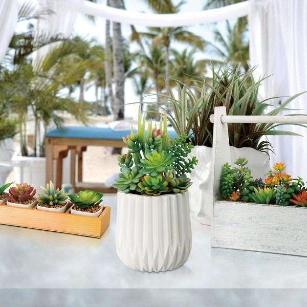 "Glitzhome 12""H Artificial Succulent Plants in White Ceramic Pot"