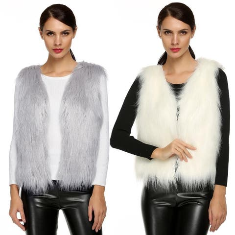 Women Fashion Casual Sleeveless Cardigan Solid Warm Faux Fur Vest Coat