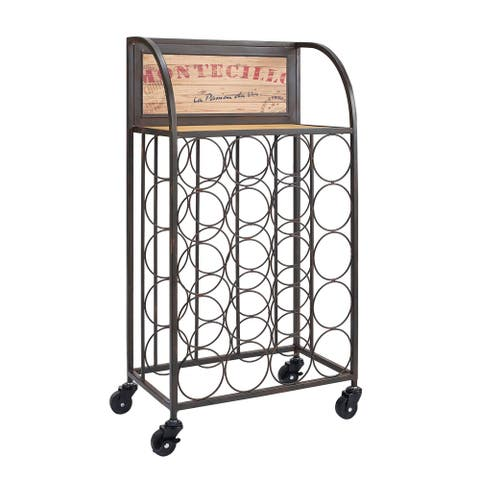 Industrial Style Wood and Metal Wine Rack with Wheels, Black