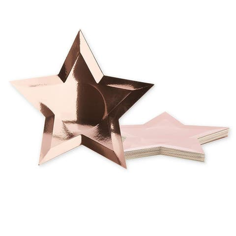 36-Count Rose Gold Star Shaped Disposable Plates for Birthday Party, 10-inch
