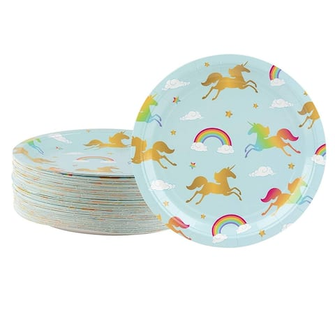 80-Count Light Blue Rainbow Unicorn Paper Disposable Plates for Birthday Party