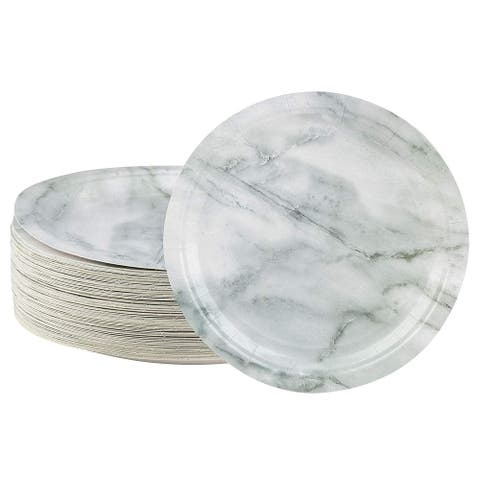 80-Count White Marble Print Paper Disposable Plates for Birthday Party Gathering