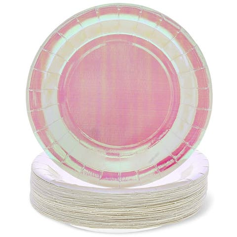 48-Count Pink Holographic Paper Disposable Plates for Birthday Party, 9-inch