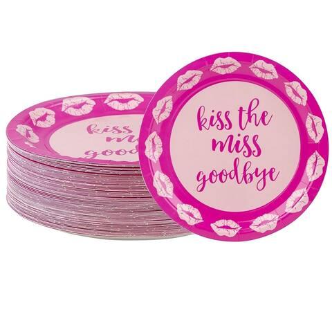 80-Count Pink Kisses Paper Disposable Plate for Bachelorette Bridal Shower Party