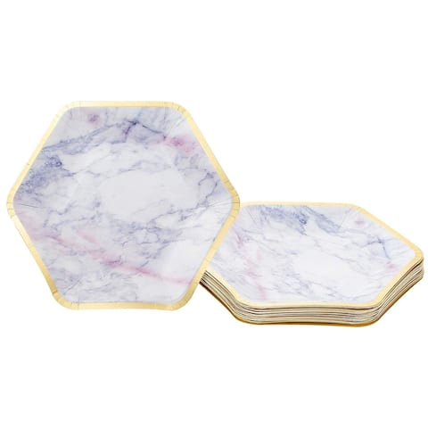 24-Count Marble with Gold Foil Edge Hexagon Disposable Plates for Birthday Party