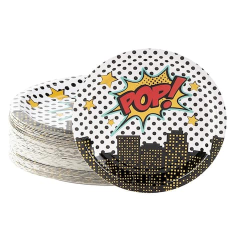80-Count Superhero Comic Book Disposable Plates for Kids Birthday Party Supplies
