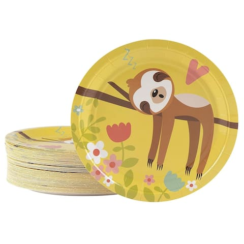 80-Count Cute Sloth Paper Disposable Plates for Kids Birthday Animal Party
