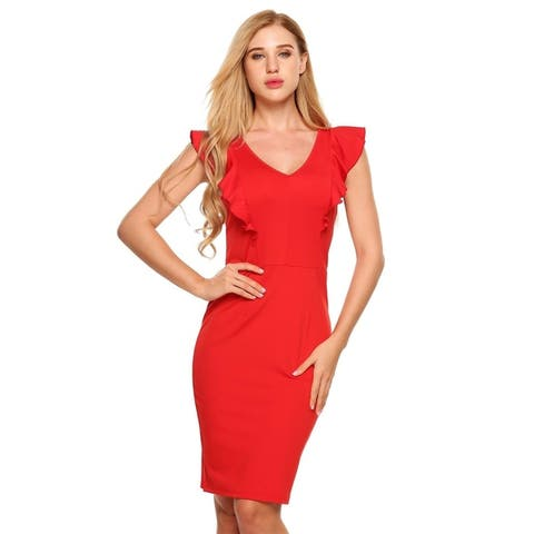 ANGVNS Women Sleeveless V-neck Package Hip Knee Pencil Dress Ruffles OL Party
