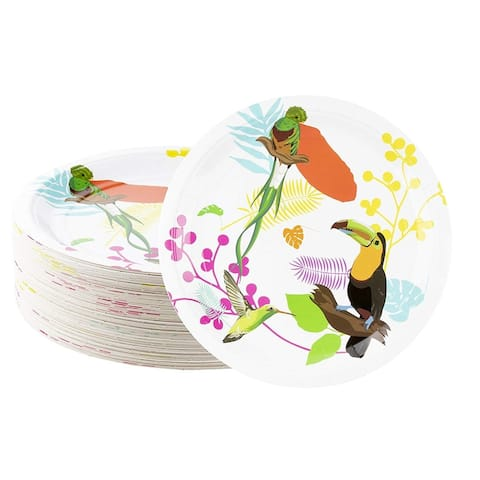80-Count Tropical Toucan and Birds Paper Disposable Plates for Birthday Party