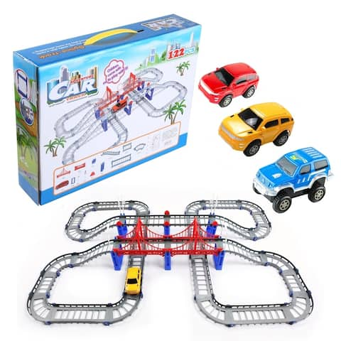 122 Piece 3 Cars and Detachable Discover Track Building Play Set for Kids