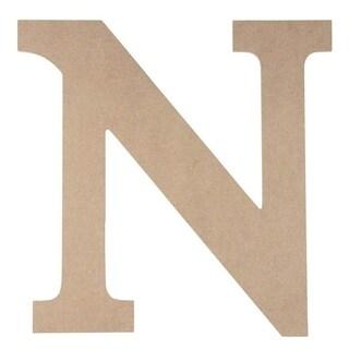 Wooden Greek Letter - DIY Paintable Unfinished Wood Letter Greek Font N for Nu