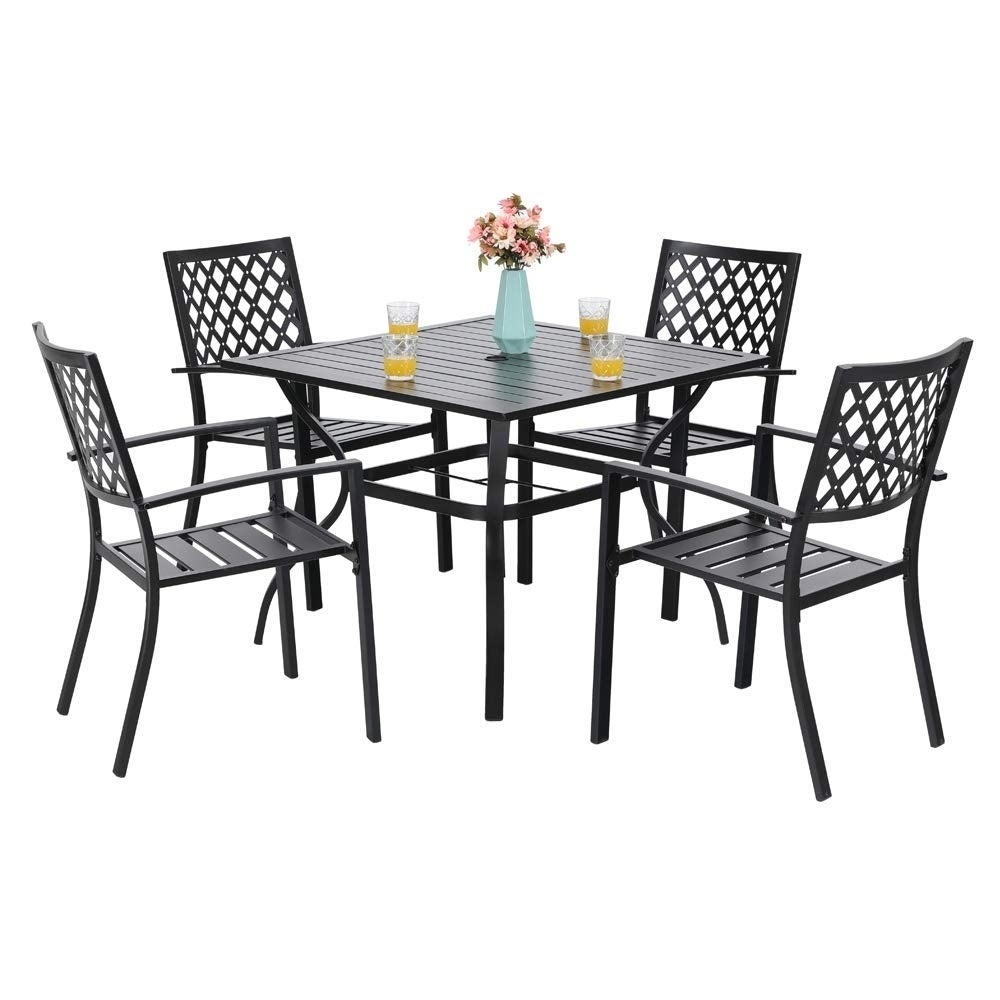 Black PHI VILLA Outdoor Patio Metal Patio Dining Chairs with Arm Rest Set of 2