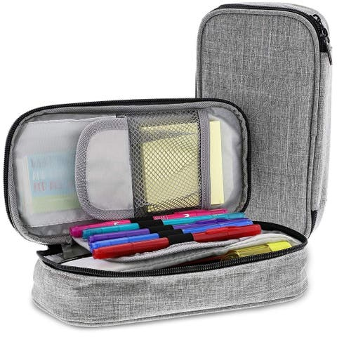Paper Junkie 2-Pack Large Pen and Pencil Soft Travel Organizer Stationery Case