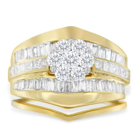 14k Yellow Gold 2 1/4ct TDW Diamond Engagement Ring Set (H-I, SI1-SI2)