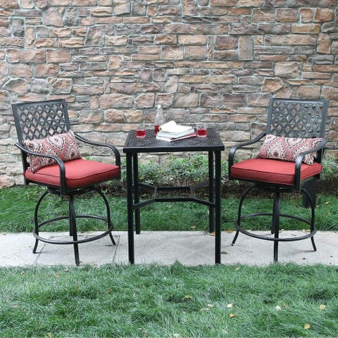 Outdoor Extra Wide Height Swivel Bar Stools Arms Chairs and Table